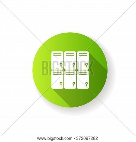 Shopping Mall Lockers Flat Design Long Shadow Glyph Icon. Shop Storage For Personal Belongings. Clos