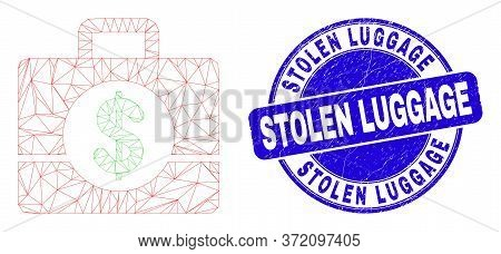 Web Carcass Business Case Pictogram And Stolen Luggage Seal Stamp. Blue Vector Round Distress Seal S