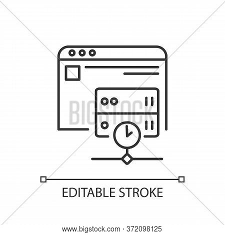 Caching Linear Icon. Modern Internet Technology For User Convenience Thin Line Customizable Illustra