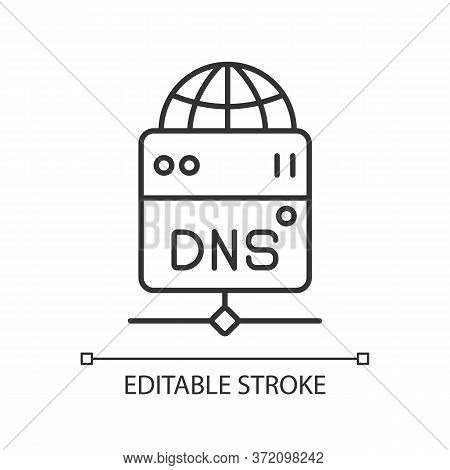 Dns Server Linear Icon. Local Domain Name System Thin Line Customizable Illustration. Contour Symbol