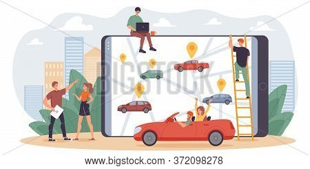 Online Transportation Car Sharing Mobile Service For People Cooperation Joint Trip Common Location D