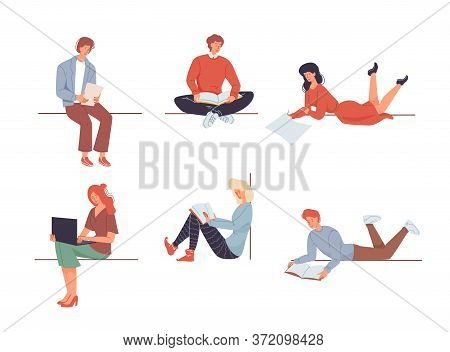 Diverse People Character Stay Home. Young Man Woman Reading Book, Learning, Working On Laptop. Work,