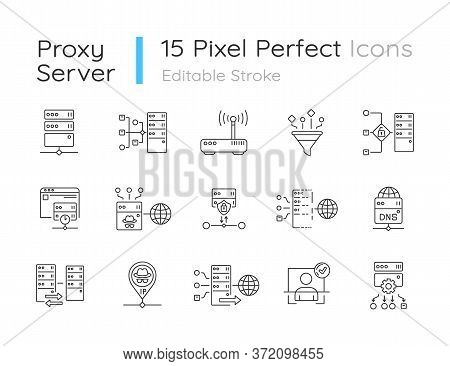 Proxy Server Linear Icons Set. Internet Data Access, Virtual Connection, Cybersecurity Customizable