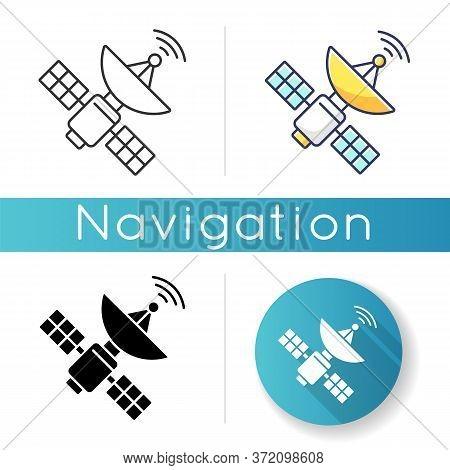 Space Satellite Icon. Cosmos Exploration, Modern Telecommunication, Aerospace Industry. Linear Black