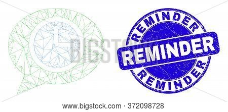 Web Mesh Clock Message Balloon Pictogram And Reminder Seal Stamp. Blue Vector Rounded Textured Seal