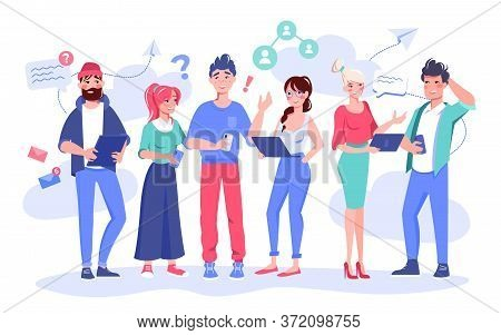 Coworker Communication, Support, Problem Solving Concept. Businesspeople Holding Digital Gadget Cowo