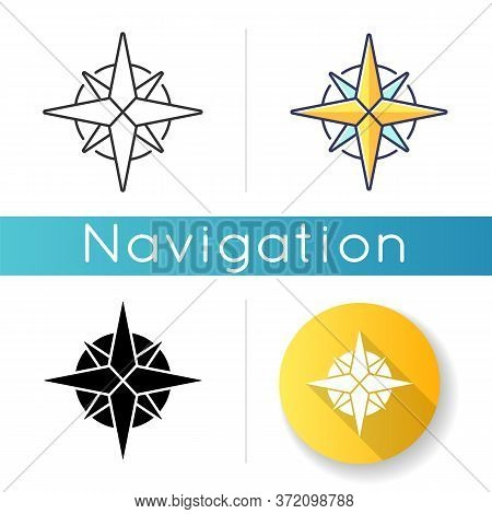 Rose Of Winds Icon. Traditional Maritime Navigation Guide. Linear Black And Rgb Color Styles. Cardin