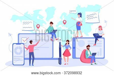 Worldwide Business Communication Cooperation Online Chat Concept. Global Connection. Partnership, Te