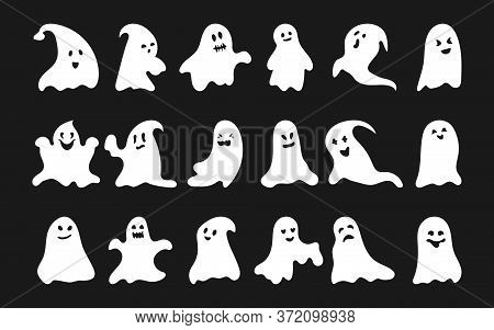White Silhouette Ghost Set. Octobe Horror Happy Halloween Character With Scary Or Surprised Face Sha