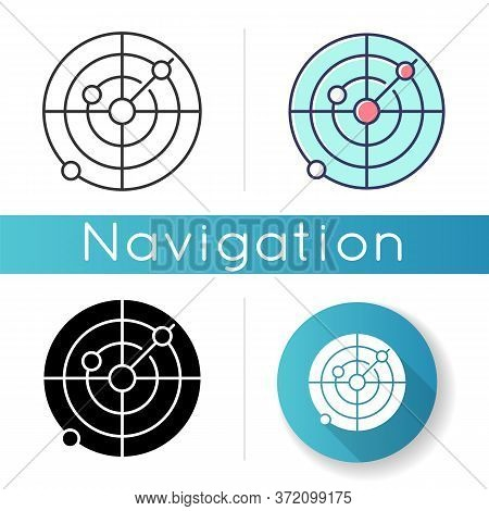 Sonar Icon. Radio Wave Scanning, Obstacle Detection Technology For Nautical Vessels. Maritime Naviga