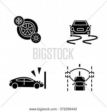 Car Security Measures Black Glyph Icons Set On White Space. Driver Assistance Silhouette Symbols. Se