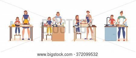 Mother Daughter Cooking In Home Kitchen Set. Happy Family Homemade Healthy Food Preparation. Daily L