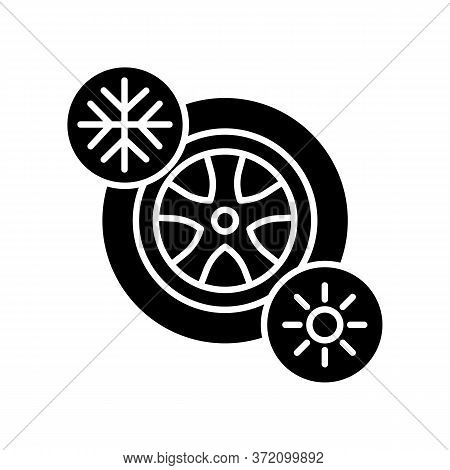 Seasonal Tyres Black Glyph Icon. Safety Driving Rule, Automobile Maintenance Silhouette Symbol On Wh