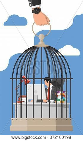 Businessman Working On Computer In The Bird Cage. Overworked Business Man In Jail. Stress At Work. B