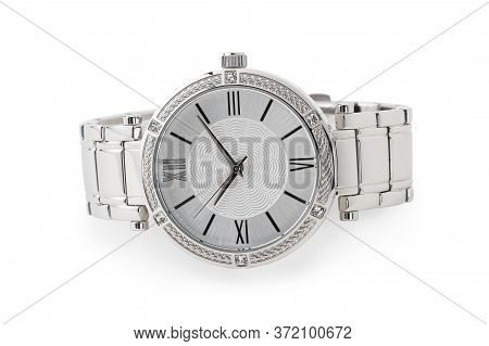 Luxury Watch Isolated On White Background. With Clipping Path. Chrome Watch. Women Watch. Female Wat