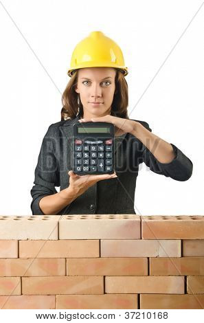 Expensive construction concept with woman