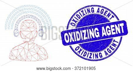 Web Carcass Radio Operator Icon And Oxidizing Agent Seal Stamp. Blue Vector Rounded Scratched Seal S