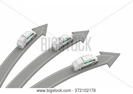 Three Garbage Trucks Go In Different Directions Isolated On White Above View. 3d Rendering