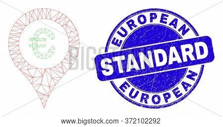 Web Mesh Euro Map Marker Icon And European Standard Watermark. Blue Vector Round Distress Seal With