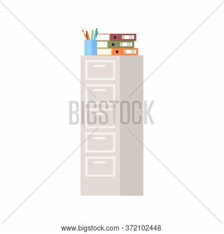 Tall Cabinet Semi Flat Rgb Color Vector Illustration. Storage For Files And Folders. Financial Datab