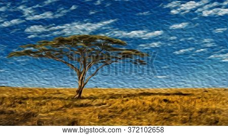 Leafy Tree In The Flat Prairie Forming A Very Recurrent Landscape In The Serengeti Park. A Conservat