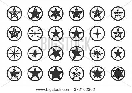 Star Black In Circle Icon Set. Abstract Template Different Shape Stars. Empty Starry Sign Design Log