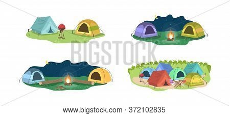Day And Night Camping Semi Flat Vector Illustration Set. Opposing Tents Near Bonfire. Camping Outdoo