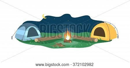 Night Camp Semi Flat Vector Illustration. Opposing Tents Near Bonfire. Camping Outdoors During Night