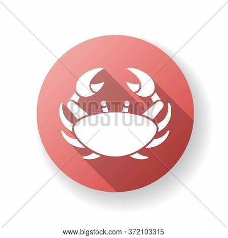 Cancer Zodiac Sign Red Flat Design Long Shadow Glyph Icon. Astrological Crab. Horoscope Birth Sign.