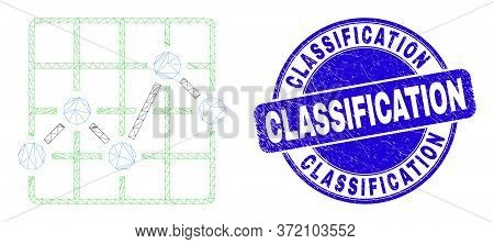 Web Carcass Chart Grid Icon And Classification Stamp. Blue Vector Rounded Grunge Stamp With Classifi