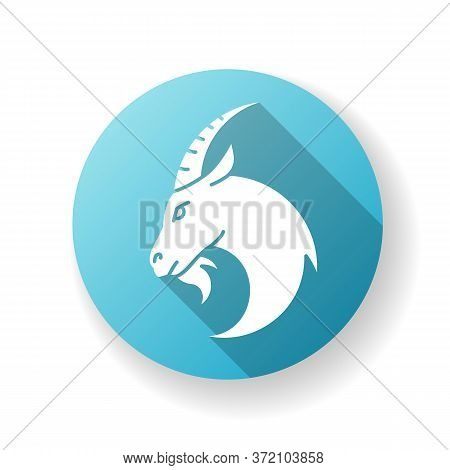 Capricorn Zodiac Sign Blue Flat Design Long Shadow Glyph Icon. Astrology, Horoscope Goat. Domestic C