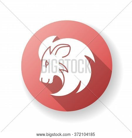 Leo Zodiac Sign Red Flat Design Long Shadow Glyph Icon. Astrology, Horoscope Lion. Exotic Carnivorou
