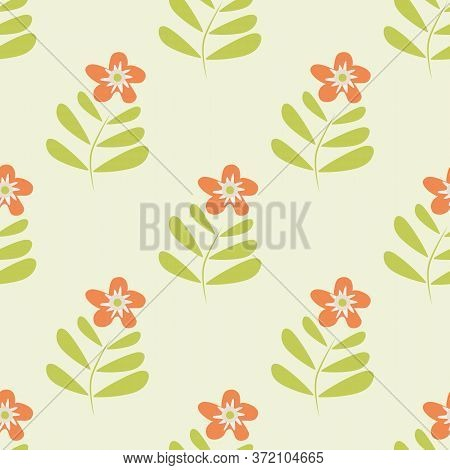 Retro Wild Meadow Flower Seamless Vector Pattern Background. Simple Orange Florals With Stem And Lea