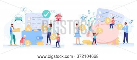 Anti-crisis Family Budget Planning Set. Father, Mother, Children Accounting Savings, Income, Profit,