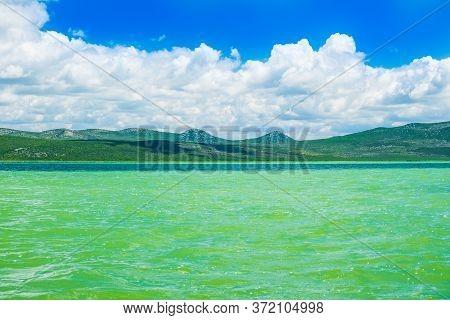 Beautiful Green Lake In Ornithological Nature Park Vrana (vransko Jezero) In Dalmatia, Croatia