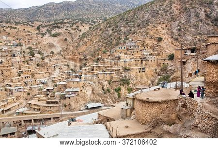 Palangan, Iran: Village In Mountains With Small Clay Houses Of Iranian Province On October 11, 2014.
