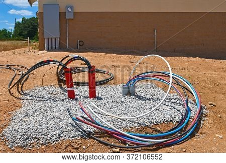 Electrical Wiring Being Installed For A New Commercial Building