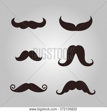 Vector Set Of Hipster Mustache, Silhouette Mustache Vector Illustration Set