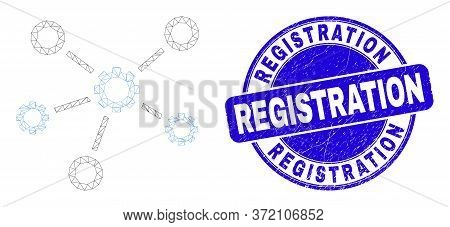Web Carcass Gear Links Icon And Registration Stamp. Blue Vector Rounded Grunge Seal Stamp With Regis