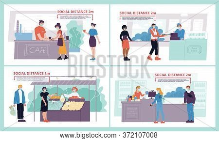 Health Safe Social Distancing. People Standing In Queue Line Wearing Protective Facial Face Mask At