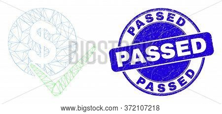 Web Carcass Valid Dollar Coin Pictogram And Passed Seal Stamp. Blue Vector Rounded Distress Stamp Wi