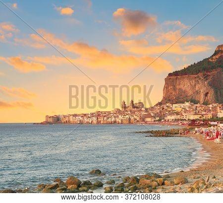 Glorious Golden Sunset Over Cefalu, A Town Near Palermo, Located On Tyrrhenian Coast Of Sicily, Ital