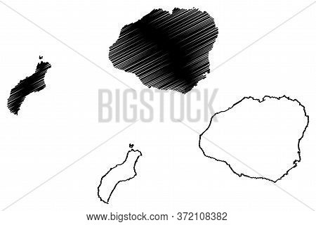 Kauai County, Hawaii (u.s. County, United States Of America, Usa, U.s., Us, Archipelago) Map Vector