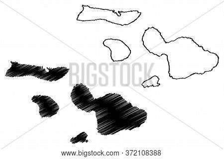 Maui County, Hawaii (u.s. County, United States Of America, Usa, U.s., Us, Archipelago) Map Vector I