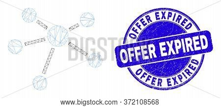 Web Carcass Relation Links Icon And Offer Expired Seal. Blue Vector Round Distress Seal Stamp With O