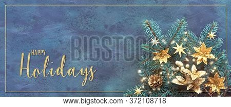 Christmas Or New Year Flat Lay On Textured Board, Text Happy Holidays . Top View, Flat Layout, Fir T