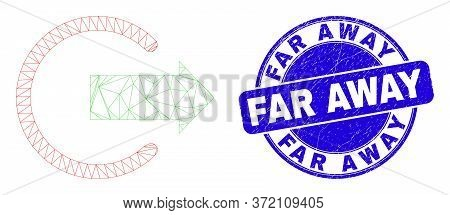 Web Mesh Logout Pictogram And Far Away Seal Stamp. Blue Vector Round Textured Seal Stamp With Far Aw