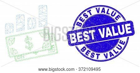 Web Mesh Financial Charts Icon And Best Value Seal Stamp. Blue Vector Rounded Scratched Stamp With B