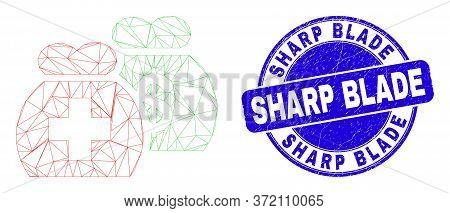 Web Mesh Medical Funds Pictogram And Sharp Blade Watermark. Blue Vector Round Textured Watermark Wit