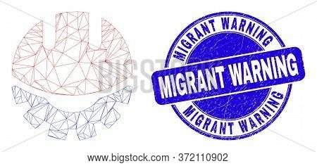 Web Mesh Development Helmet Icon And Migrant Warning Seal Stamp. Blue Vector Round Distress Seal Sta